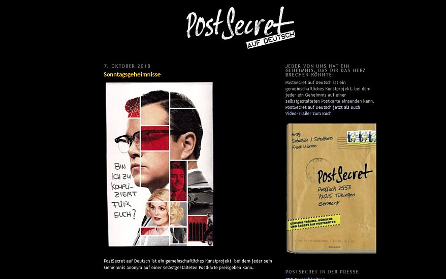 PostSecret, Geheimnis, Kunstprojekt, Postkarten, Karten, Interview, Screenshot, Website